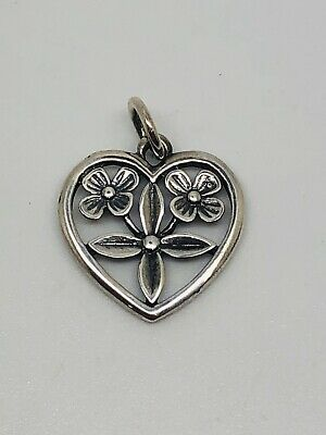 James Avery Heart With Flowers Charm In Sterling Silver, RETIRED!!