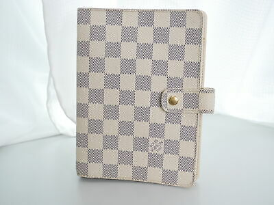 LOUIS VUITTON Damier Azur Agenda MM Day Planner Cover R20707 White Auth #3472P