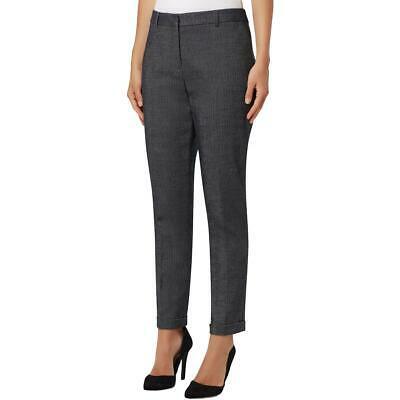 Tahari ASL Womens Navy Straight Leg Mid-Rise Officewear Ankle Pants 12 BHFO 0159