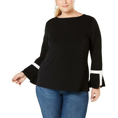 Charter Club Womens Black Bell Sleeves Business Blouse Top Plus 0X BHFO 8905