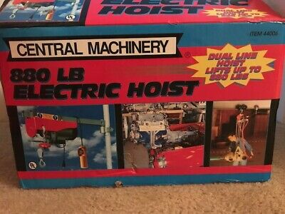 Electric Hoist 880 pound Item 44006 Central Machinery Open Box perfect condition