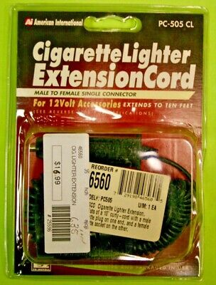 American International Cigarette Lighter Extension Cord ~ 10 Ft. Male to Female