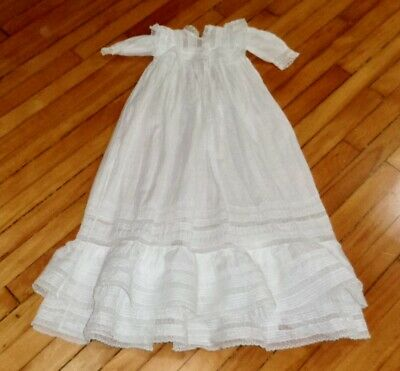 """Antique Victorian 38"""" Long Christening Gown Edwardian Lace Pin Tuck Baby Dress"""
