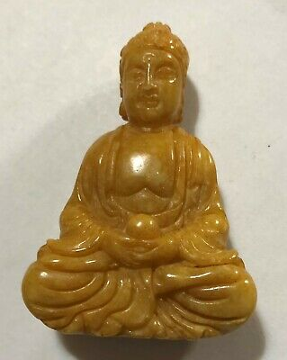 Chinese carving YELLOW OLD Jade Buddha DESK  STATUE PAPERWEIGHT  Pendant