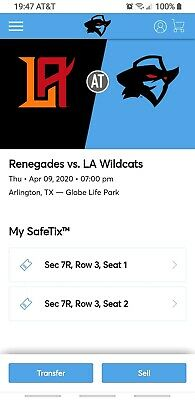 XFL - Dallas Renegades * Los Angeles Wildcats - 2 Tickets & Reserved Parking