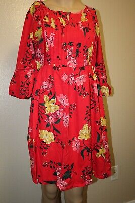 Brand New Old Navy Girls 3/4 Sleeve Red Floral Dress Size XL (14)
