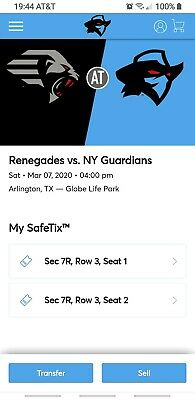 XFL - Dallas Renegades * New York Guardians - 2 Tickets & Reserved Parking