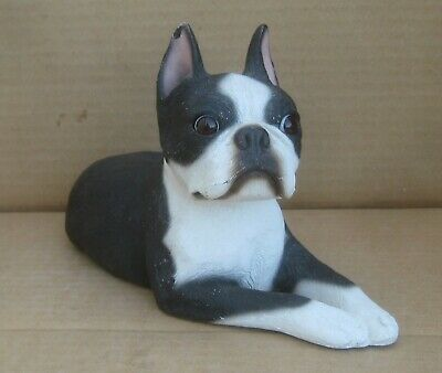"Sandicast Boston Terrier 1985 signed by Sandra Brue. 9 1/2"" long FREE Shipping"