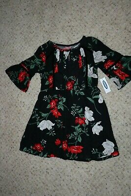 Brand New Old Navy Girls 3/4 Sleeve Black Floral Dress Size XS (5)