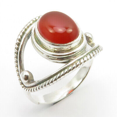 925 Sterling Silver Oval Carnelian Antique Style Ring Size 7.25 Stone Gift