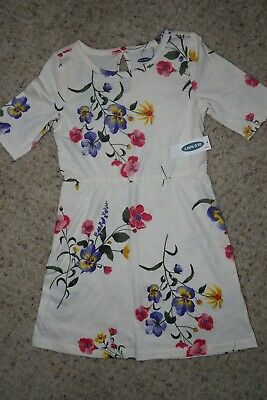 Brand New Old Navy Girls Short Sleeve Fit & Flare Cream Floral Dress Size XS (5)