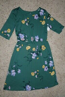 NWT Old Navy Girls Short Sleeve Fit & Flare Green Floral Dress Size L (10-12)