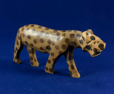 Hand-carved Wooden Leopard Figurine 3.75""