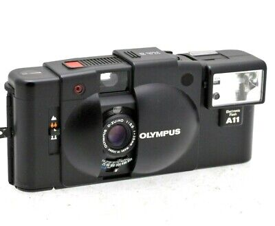 00OLYMPUS XA2 35mm FILM STREET CAMERA with A11 FLASH - CHECKED & TESTED