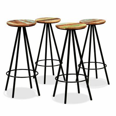 vidaXL 4x Solid Reclaimed Wood and Steel Bar Stools Kitchen Dining Chair Seat