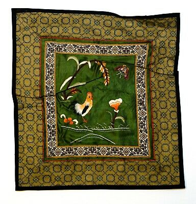 """Vintage Chinese Hand Embroidered Silk Square Mat 10"""" Rooster & Butterfly Floral"""