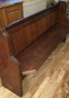 "Church Chapel Pitch Pine Pew Bench with Bible Shelf  67"" wide"