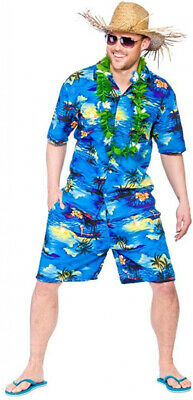 Adult Mens Hawaan Party Guy Blue Palm Extra Large