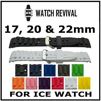 High Quality Replacement Rubber Curved End Strap For Ice Watch 17Mm, 20Mm, 22Mm