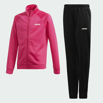 Adidas Girls Kids Junior Entry Track Suit Pink/Black DV0844
