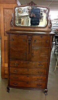 Vintage Oak High Boy Chest of Drawers Dual Bonnet Boxes Mirror Applied Carvings