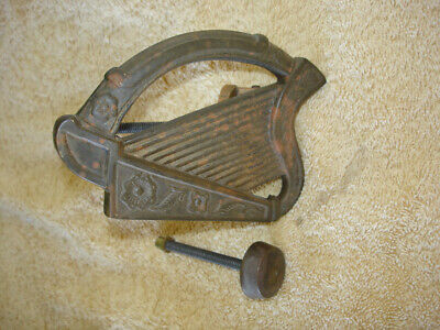 Vintage Bronze Harp Door Knocker Celtic Irish Brass Architectural Hardware