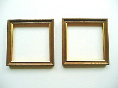Two Small Brown Wood with Gold Colour Trim Picture Frames 12cm Square Unglazed