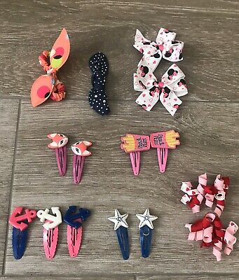 Little Girls Hair  Barrettes Ties Gymboree Anchors Fox Fries Minnie Mouse