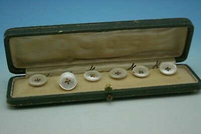 Antique Mother Of Pearl Set Of 6 Buttons - Cased