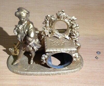 Antique Spelter Figural French Clock Case Surmounted Frame Ex Clockmakers Spares