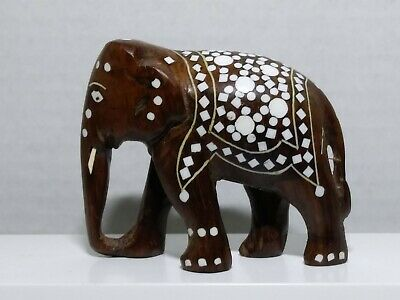 Hand Carved Wooden Elephant Statue with Custom Inlay Design VGPC