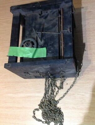 ANTIQUE BLACK FOREST GERMAN CLOCK MOVEMENT WITH CHAIN 160x140x120mm
