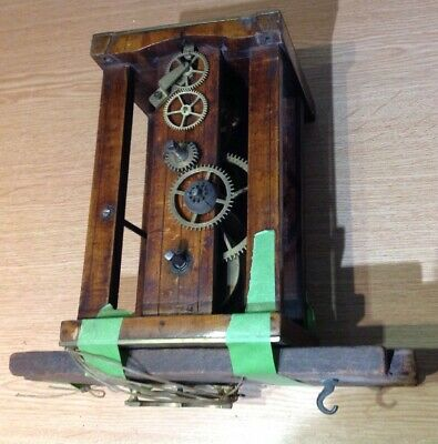 ANTIQUE BLACK FOREST GERMAN CLOCK MOVEMENT WITH CHAIN PULLEY 130x130x200mm