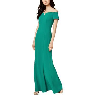 Calvin Klein Womens Green Notched Off-The-Shoulder Formal Dress Gown 6 BHFO 2276