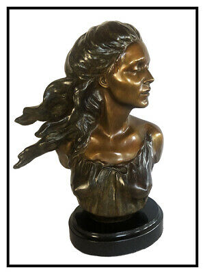 Frederick Hart Bronce Escultura The Muses Música Firmado Mujer Busto Full Round