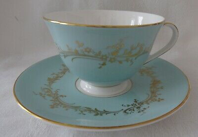 Royal Doulton MELROSE Cup & Saucer set  aqua & gold