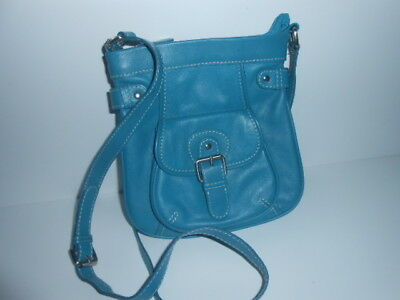 Oasis Blue Leather Cross Body Bag / New