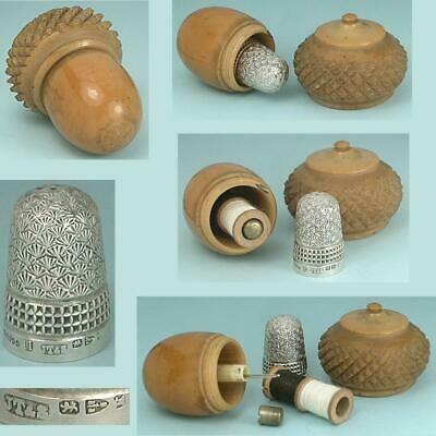 Antique English Vegetable Ivory Sewing Acorn * 1893 Sterling Silver Thimble