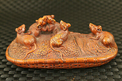 Chinese boxwood hand carving mouse eat maize statue fortune collectable decor