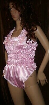 Prissy Sissy Maid CDTV Adult Baby Pink elasticated All in One Teddy Playsuit