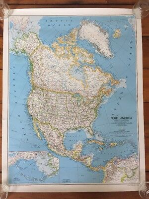 Vtg 1981 National Geographic USA North America Canada Mexico Political Map