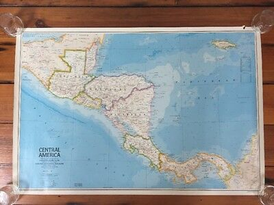 Vintage 1984 National Geographic Central America Political Reference Wall Map