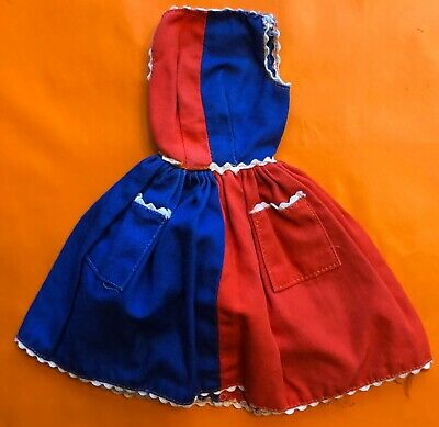 Vintage Barbie Dress Red /& Blue Fancy Free #943 1960/'s Tagged Black Label