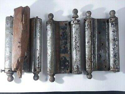 "Lot Set 3 Antique Vtg 10 1/2"" Double Action Spring Hinges Large Big Heavy Acting"