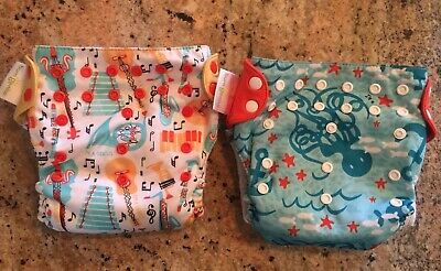 BumGenius Organic Cotton All In One Cloth Diapers Lot Of 2 Music & Ocean So Cute