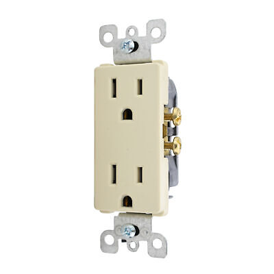 Leviton 5352-Ihd Industrial Duplex Receptacle, 20A, 125V, Ivory, (15 Pack)