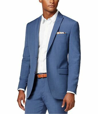bar III Mens LS Two Button Blazer Jacket, Blue, 44 Long