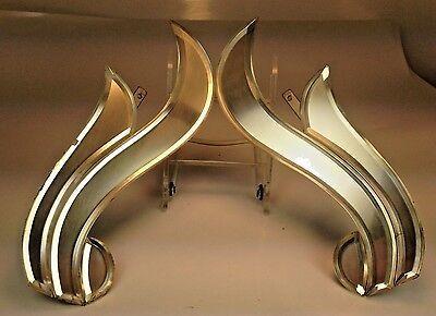 Elegant Antique French Art Deco Mirrored Flame Design Curtain Drapery Tie Backs