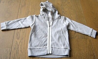 Purebaby Boys Grey Cotton  Zip Front Hoodie Jacket Sz  1