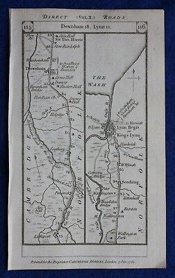 Original antique road map NORFOLK, KINGS LYNN, MIDDLESEX, LONDON, Paterson, 1785
